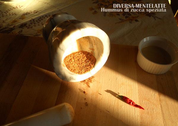Mix di spezie nel mortaio