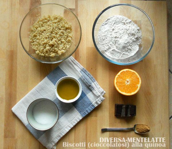 Ingredienti-biscotti quinoa e cioccolato