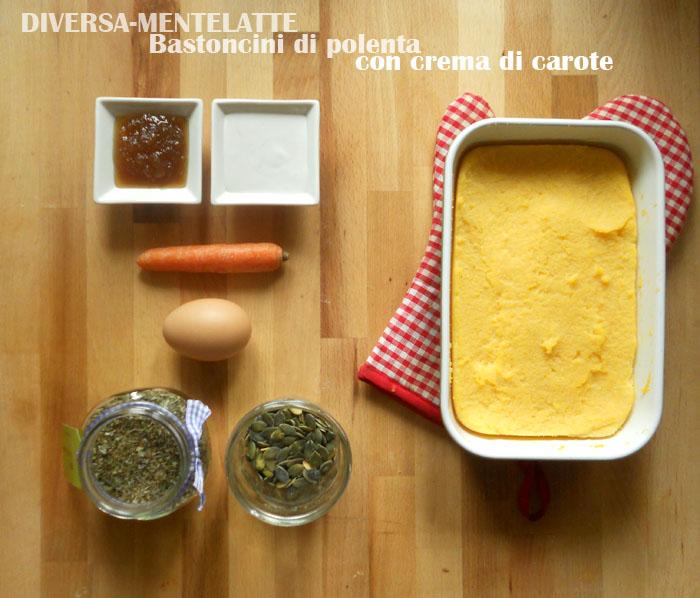 Ingredienti bastoncini di polenta e crema di carote
