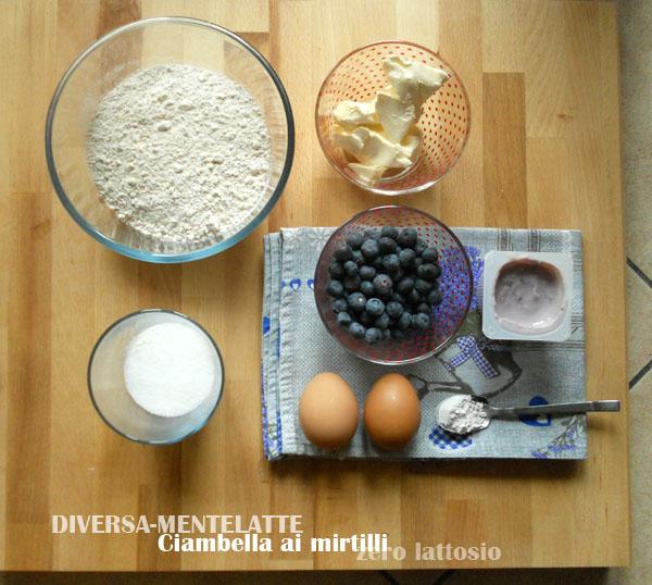 Ingredienti ciambella ai mirtilli zero lattosio