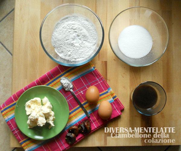 Ingredienti del ciambellone al caffè
