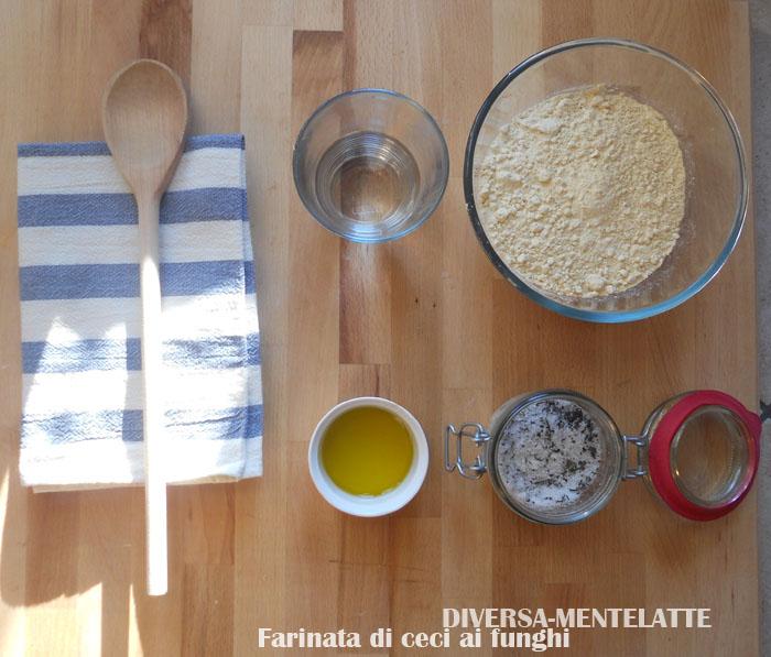 Ingredienti farinata di ceci ai funghi