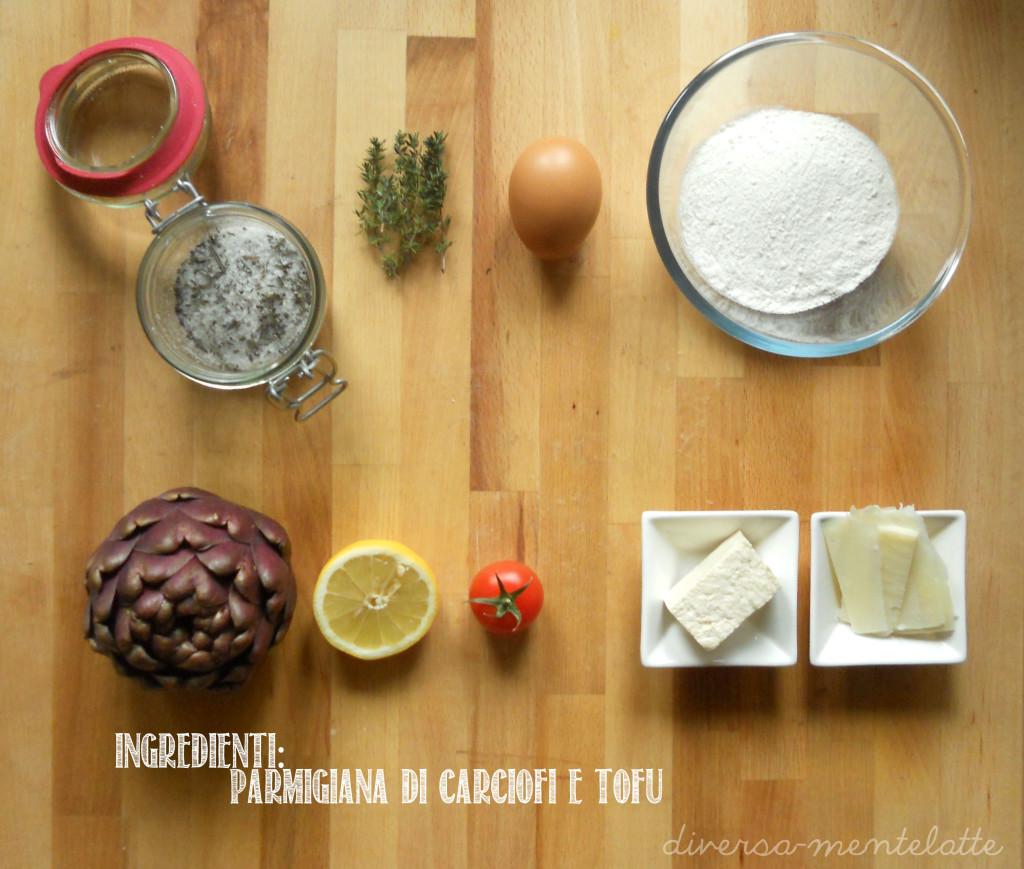 Ingredienti parmigiana di carciofi e tofu