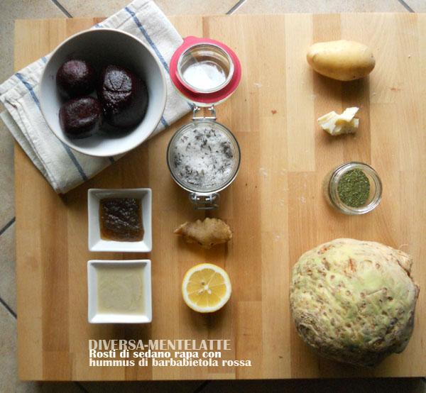 Ingredienti rosti sedano-rapa e hummus barbabietola