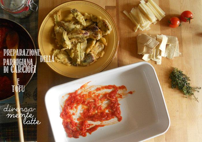 Preparazione parmigiana di carciofi e tofu