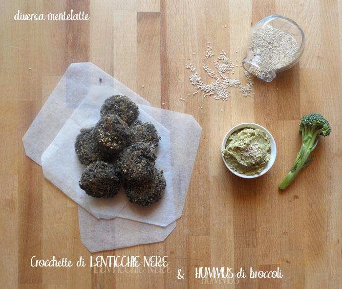 Crocchette di lenticchie nere e hummus di broccoli