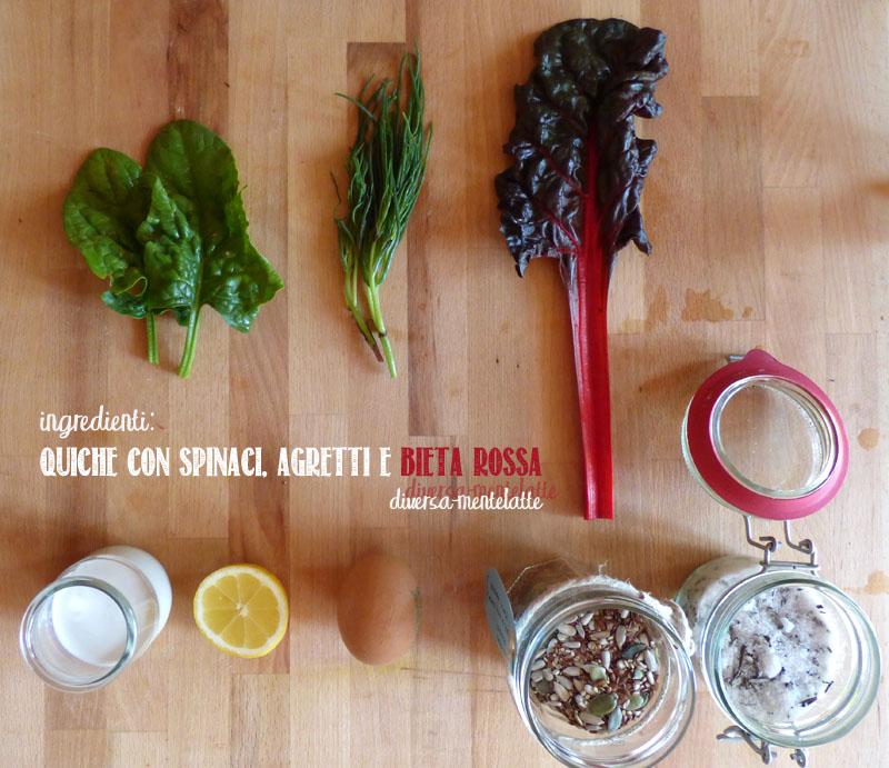 Ingredienti quiche spinaci agretti bieta rossa