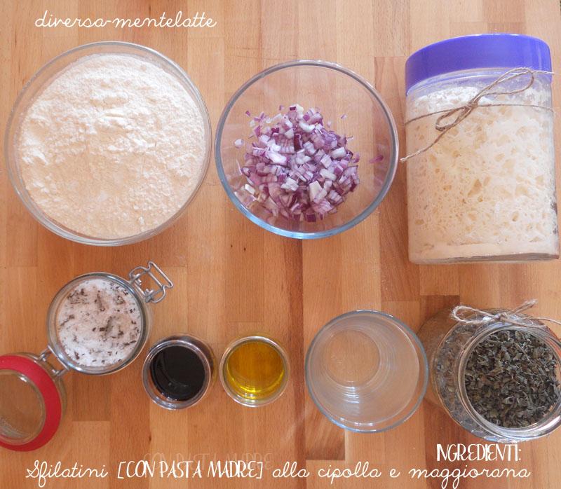 Ingredienti sfilatini con cipolla e maggiorana