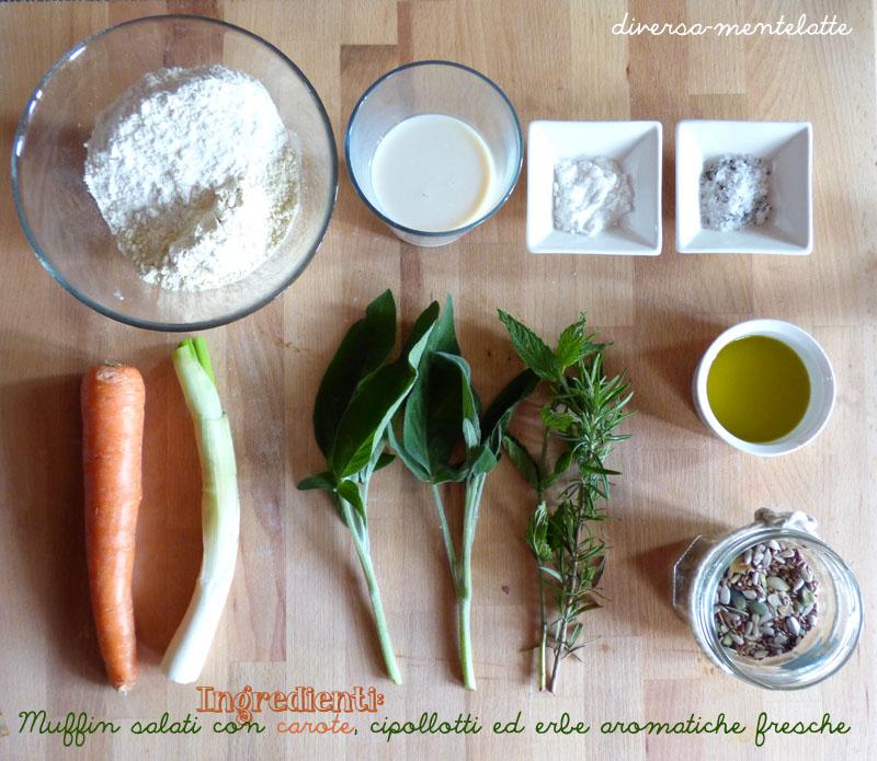 Ingredienti muffi salati carote cipollotti erbe aromatiche