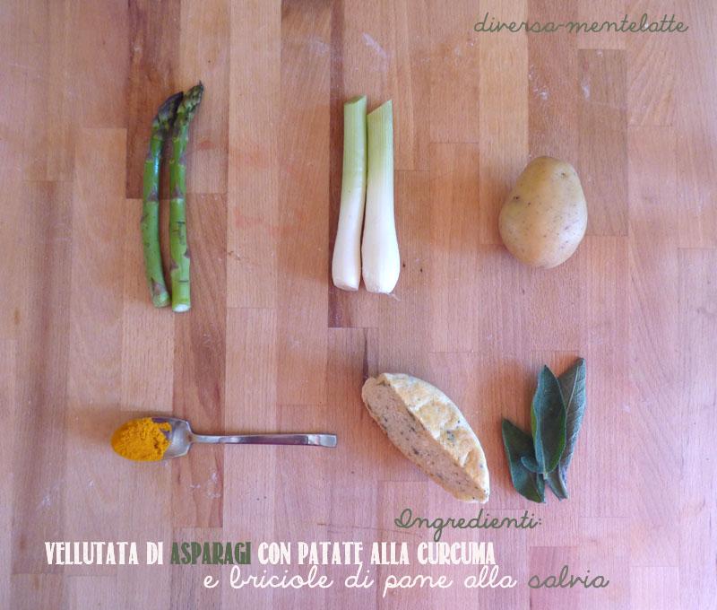 Ingredienti vellutata asparagi e patate curcuma
