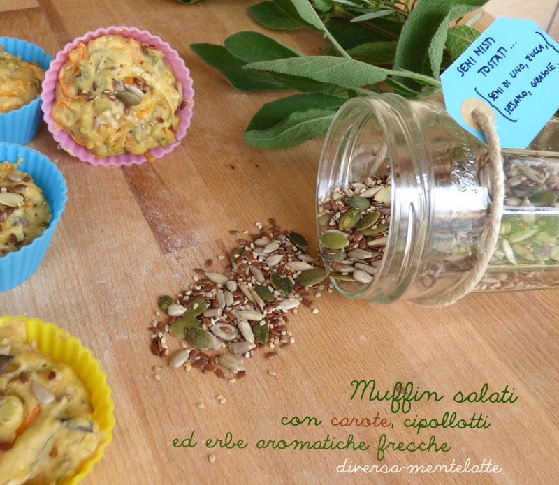 Muffin salati con carote e-cipollotti-erbe aromatiche fresche