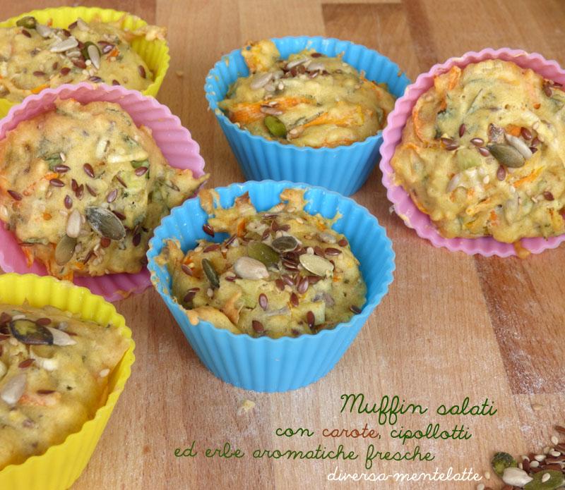 Muffin salati con carote e cipollotti