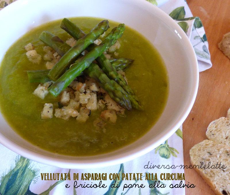 Vellutata asparagi epatate-curcuma-e briciole pane alla salvia