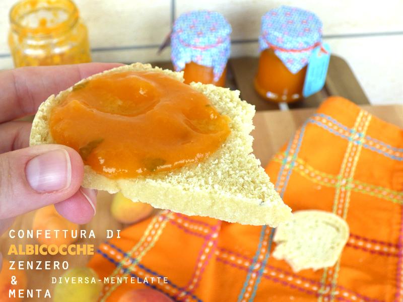 Fetta di pane con confettura albicocca zenzero menta
