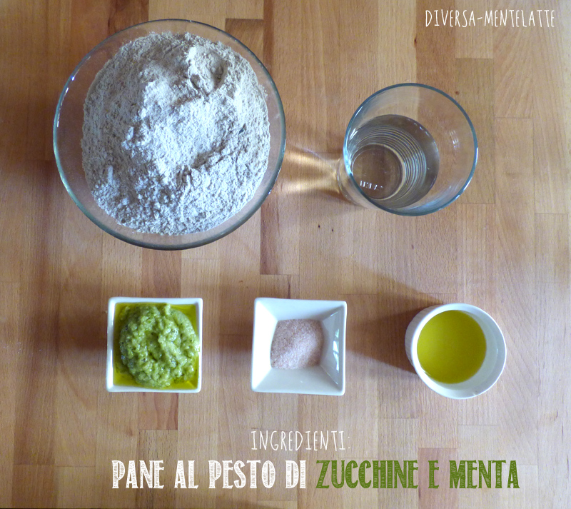 Ingredienti pane al pesto di zucchine e menta