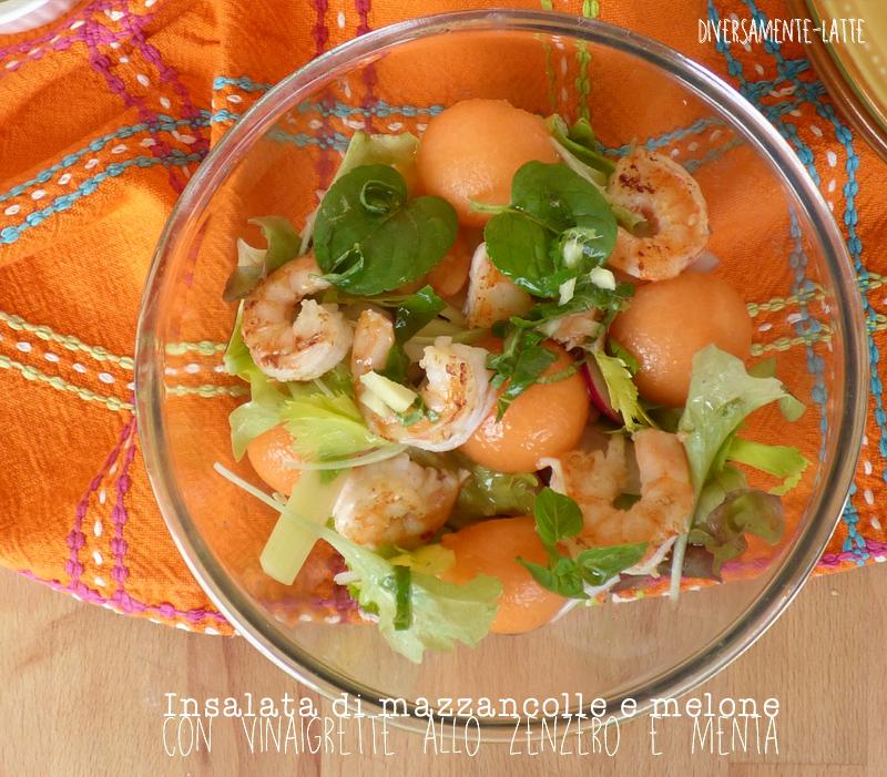 Insalata di mazzancolle e melone e vinaigrette zenzero e menta