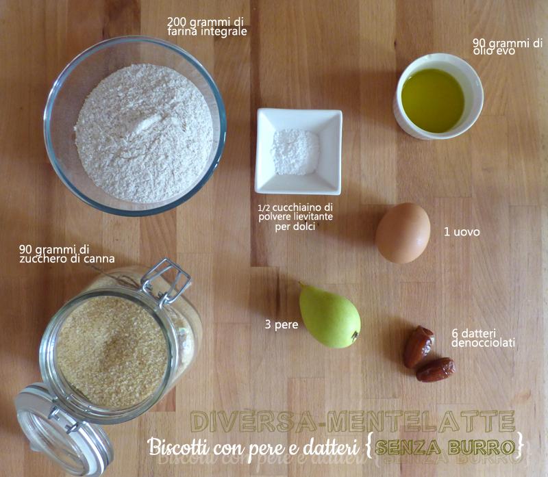 Ingredienti biscotti pere datteri senza burro