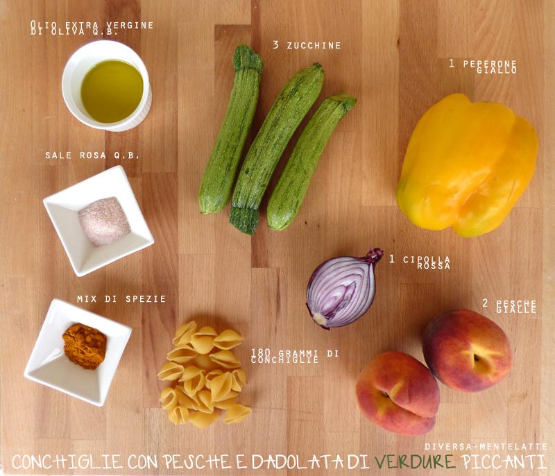 Ingredienti conchiglie pesche verdure piccanti