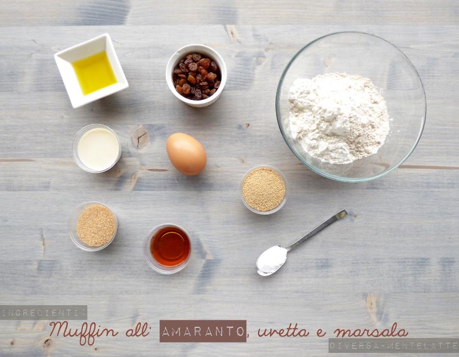 ingredienti muffin amaranto uvetta marsala