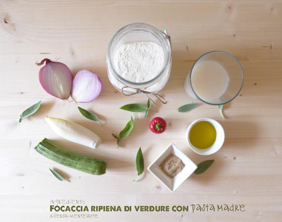 Ingredienti focaccia ripiena di verdure pasta madre