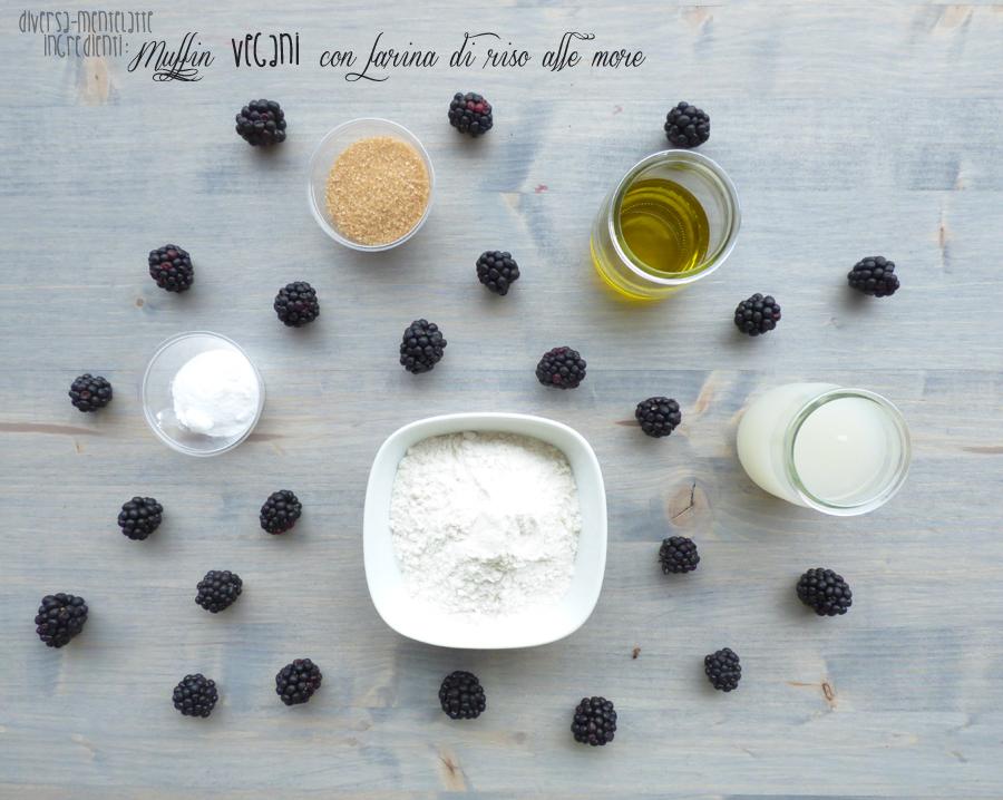 ingredienti muffin con farina di riso e more