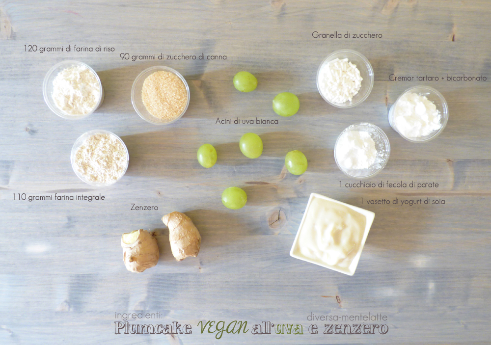 ingredienti plumcake vegan uva zenzero