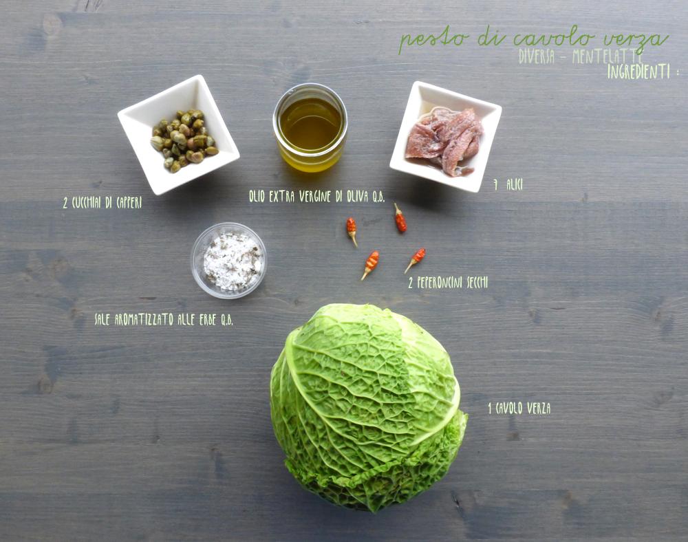 ingredienti pesto di cavolo verza
