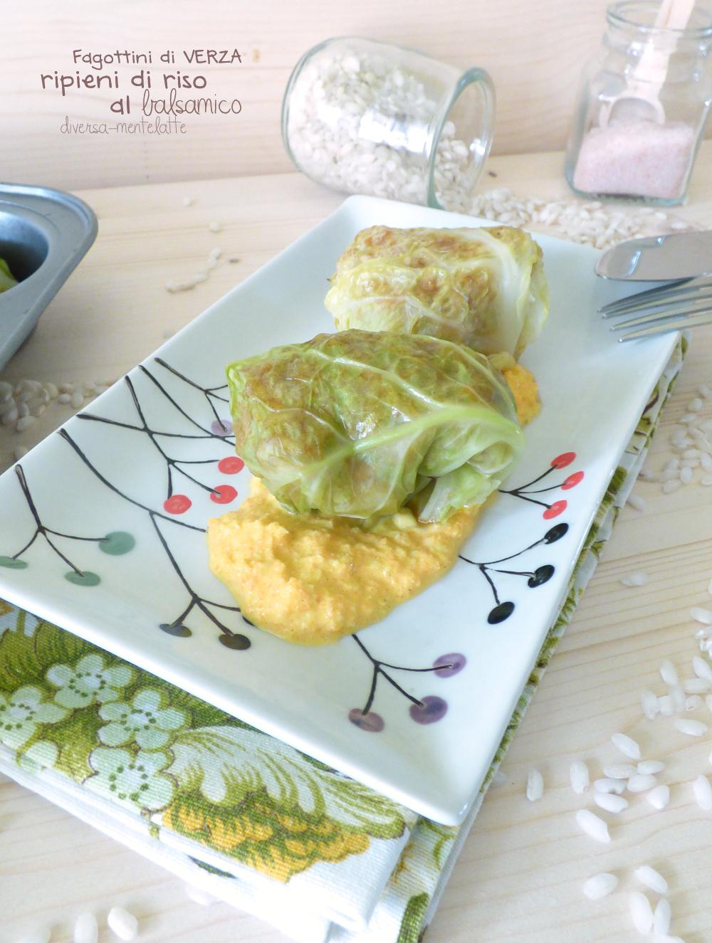 fagottini di verza con riso al balsamico