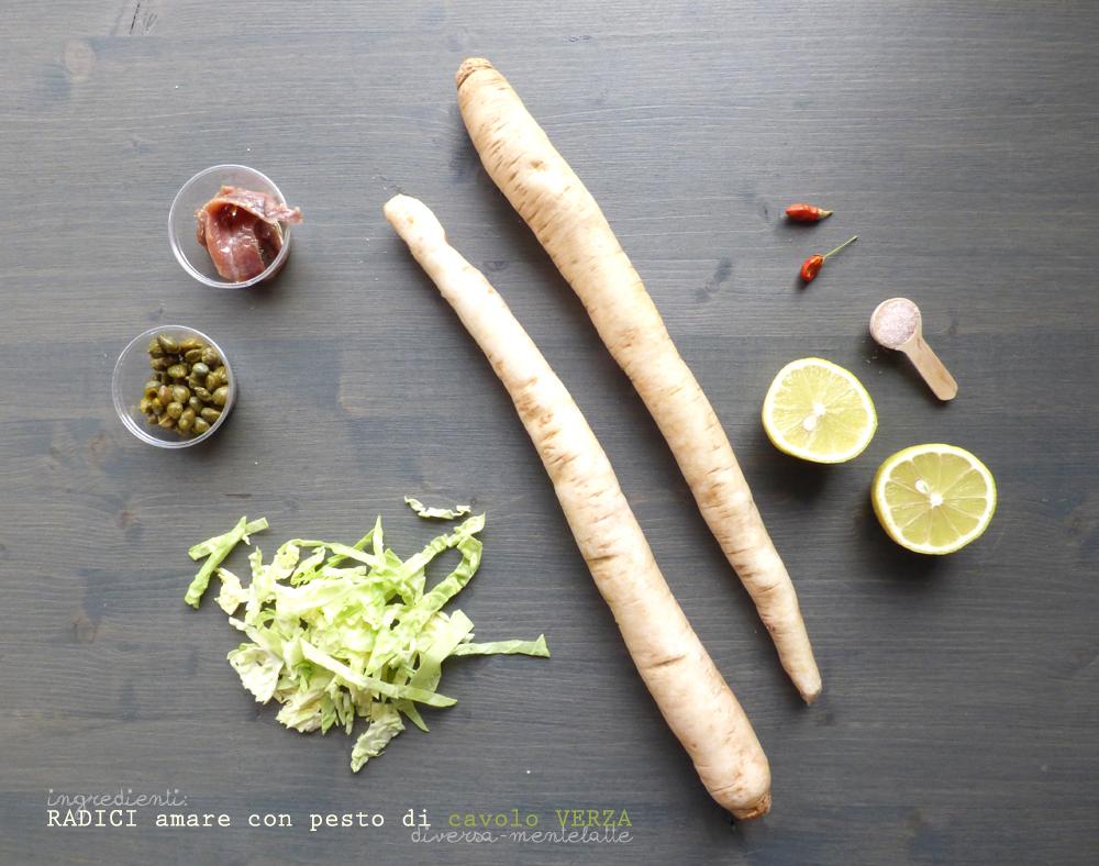 ingredienti radici amare con pesto di cavolo verza