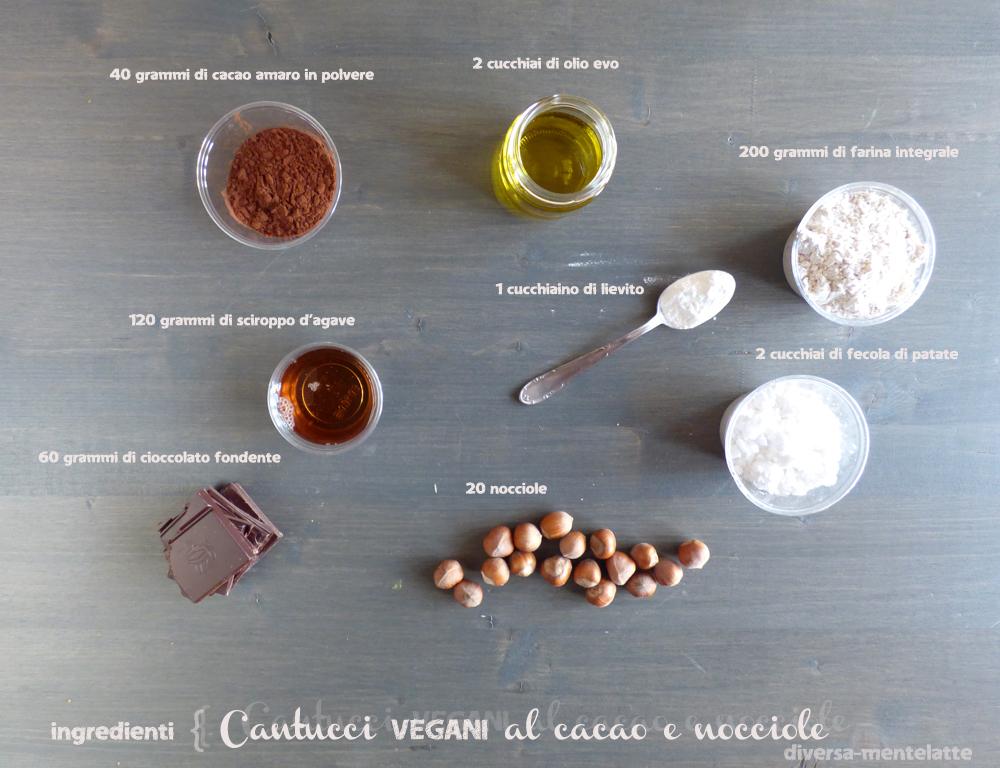 ingredienti cantucci vegani al cacao e nocciole