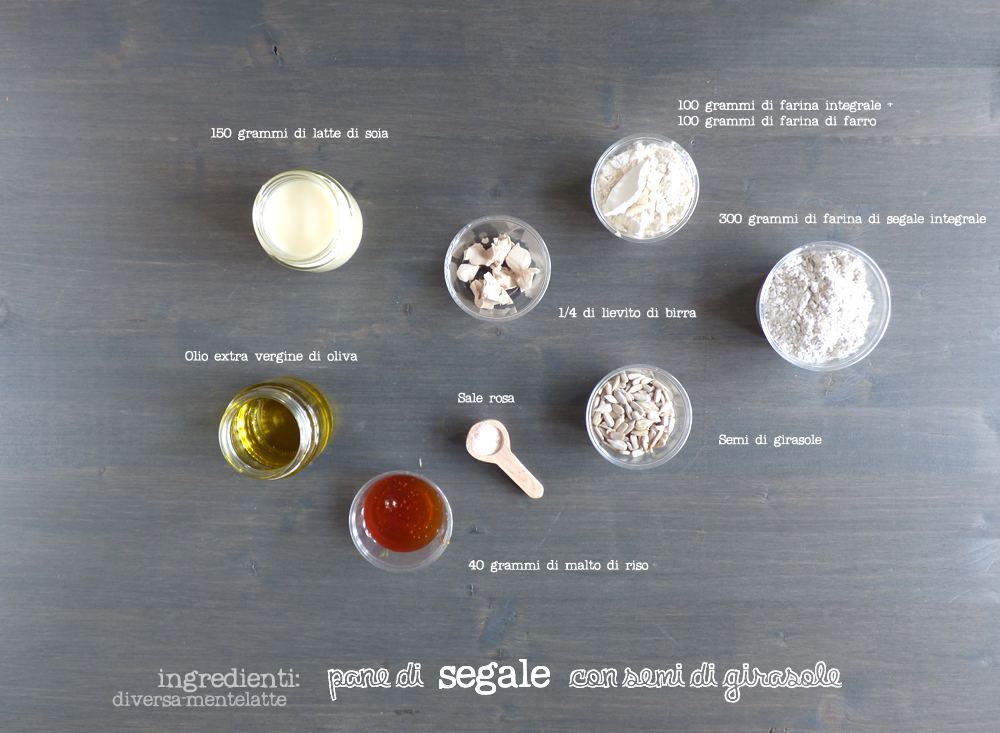 ingredienti pane d segale con semi di girasole