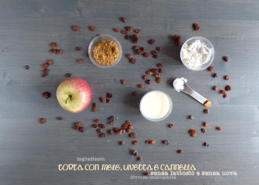ingredienti torta con mele uvetta e cannella