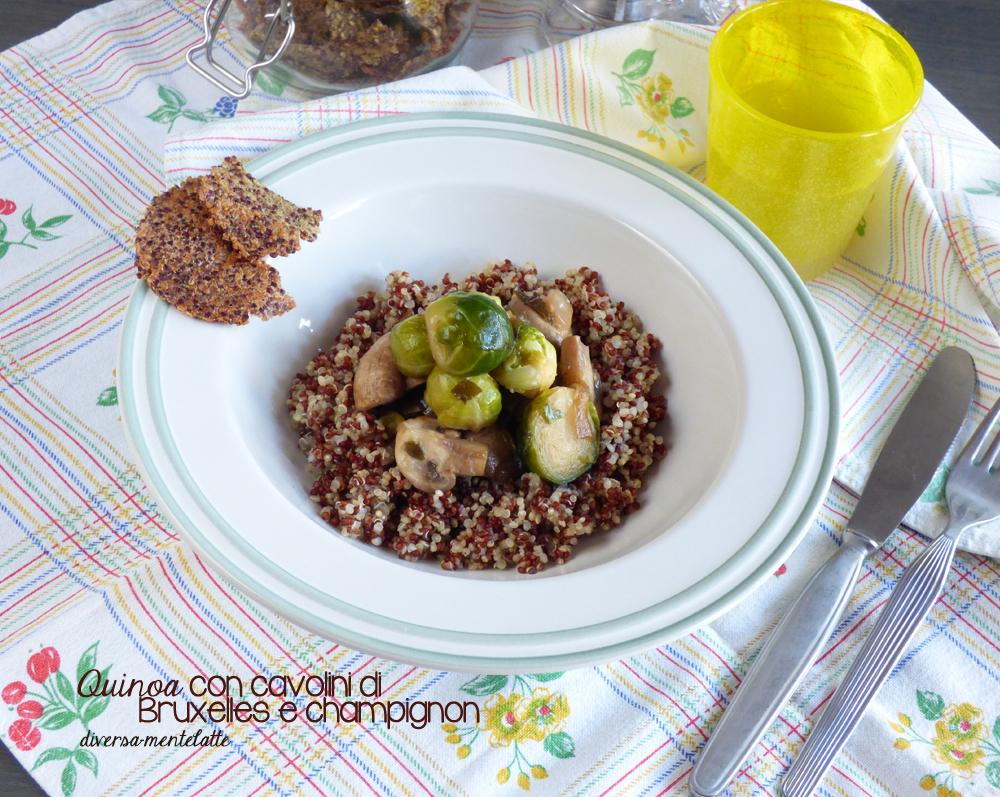 quinoa con cavolini e champignon
