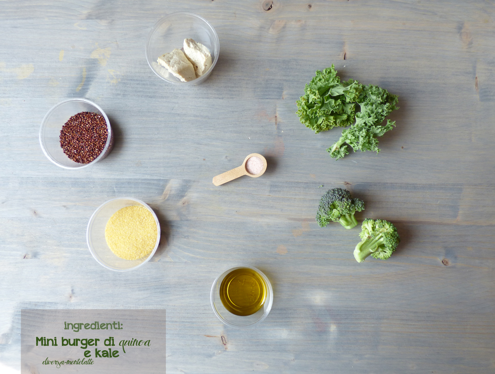 ingredienti mini burger di quinoa e kale