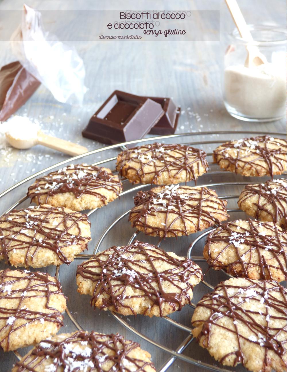 biscotti cocco e cioccolato senza lattosio