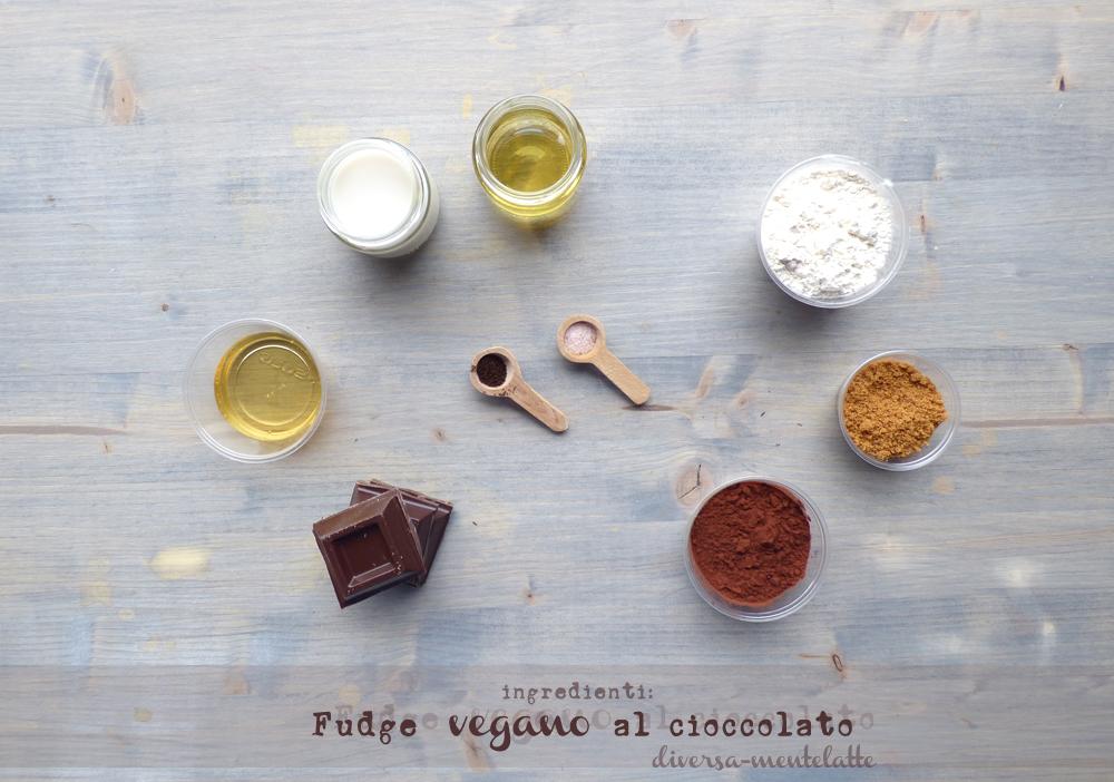 ingredienti fudge vegano al cioccolato