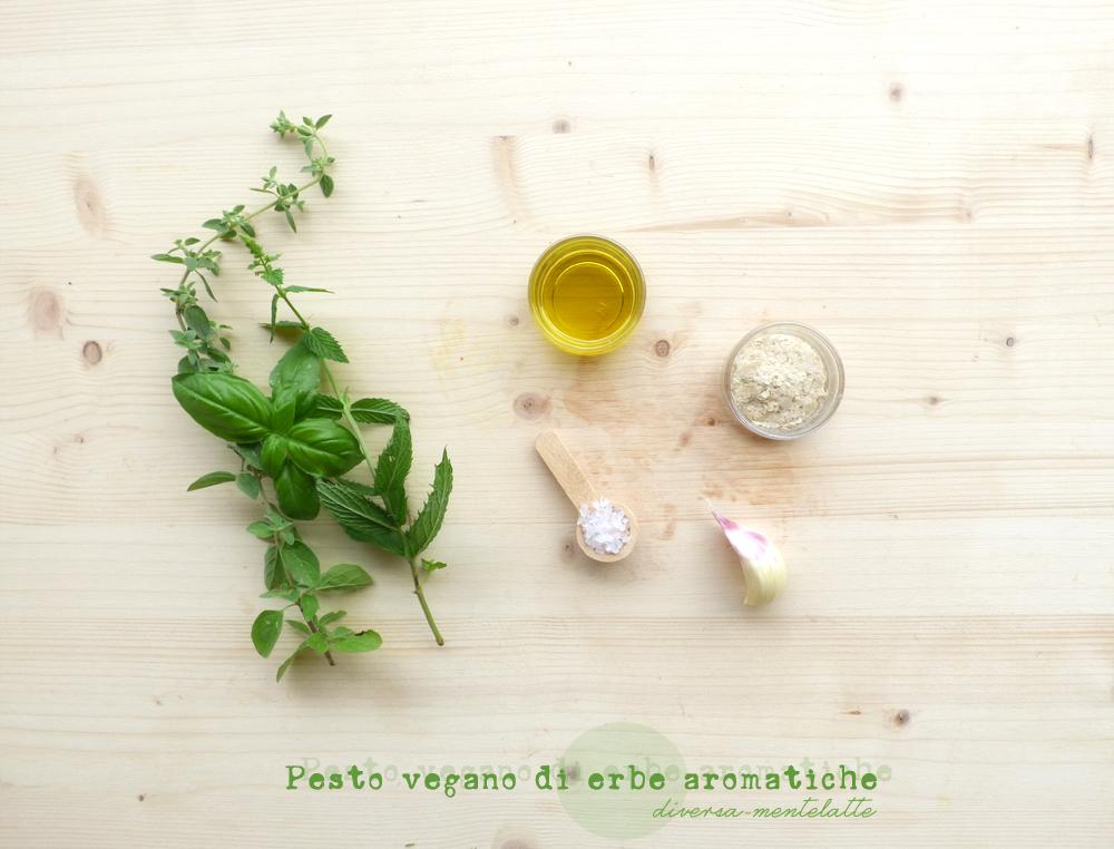 ingredienti pesto vegano di erbe aromatiche