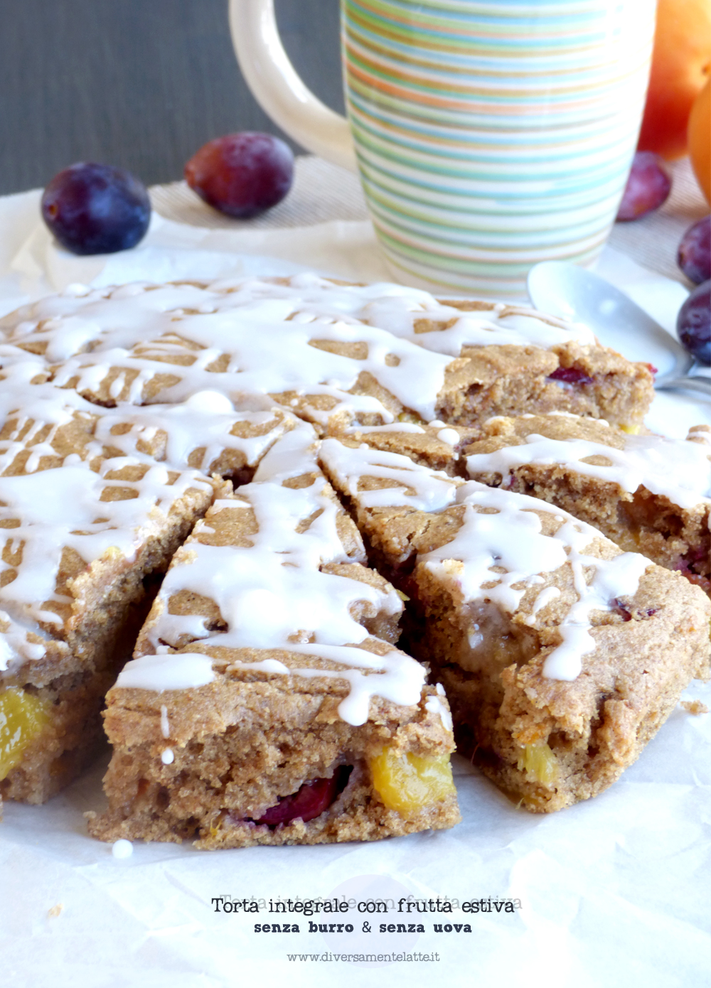 torta integrale con frutta estiva senza burro senza uova