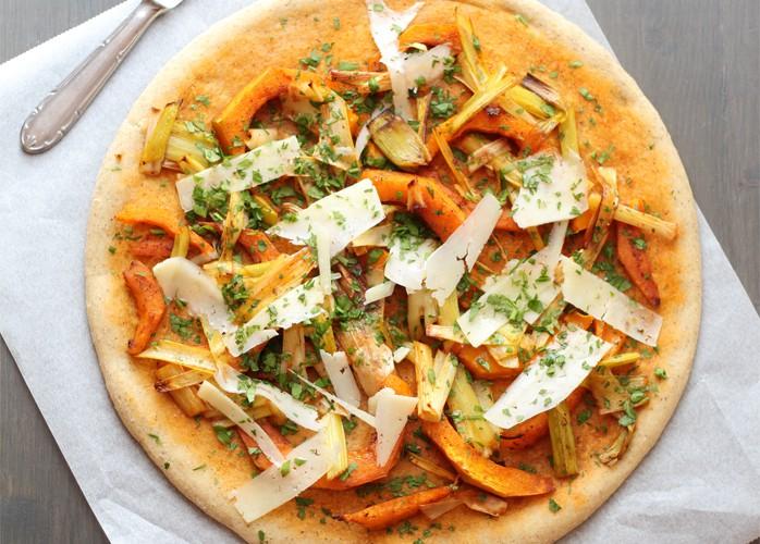 Pizza alla zucca e porri