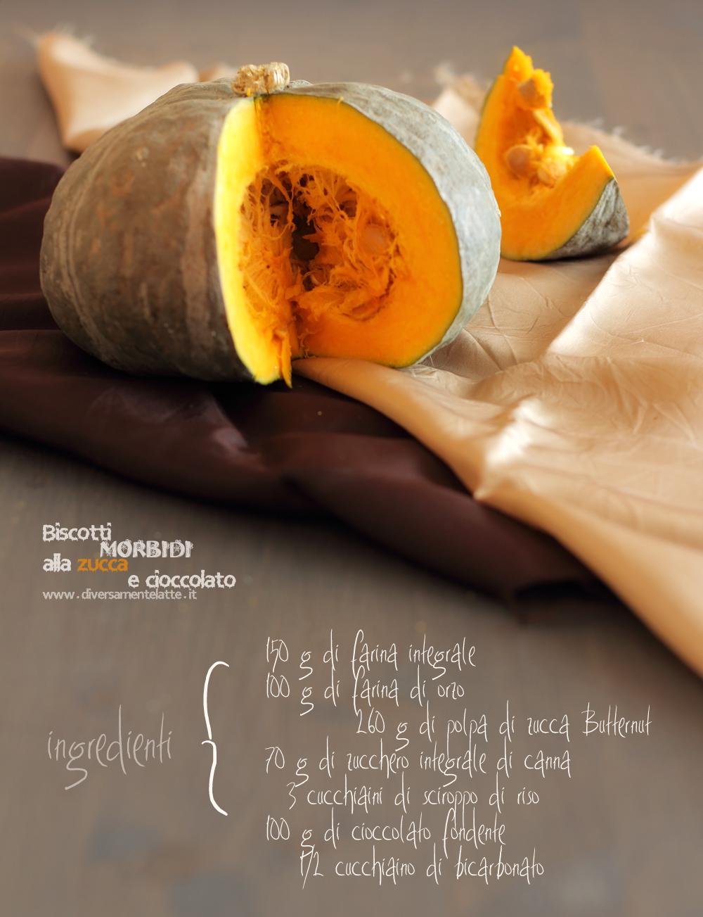ingredienti biscotti morbidi alla zucca e cioccolato