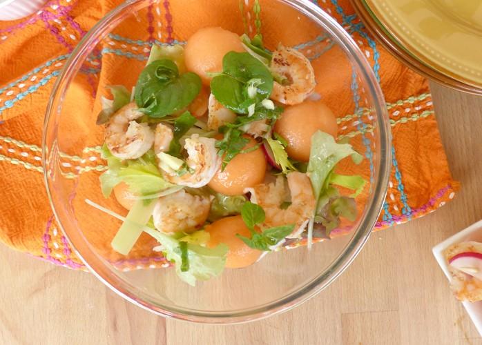 Insalata di mazzancolle e melone con vinaigrette allo zenzero e menta