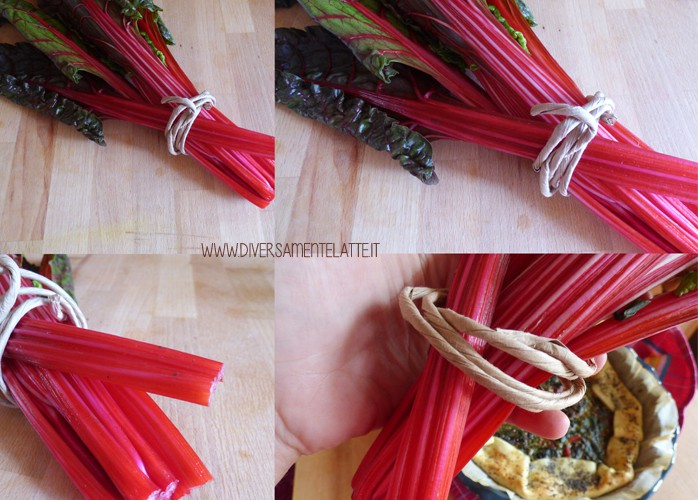 Quiche con spinaci, agretti e bieta rossa