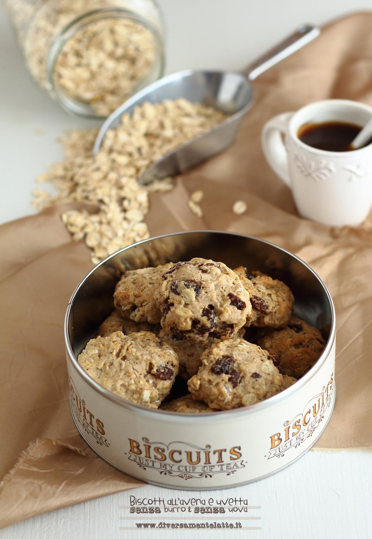 biscotti all'avena e uvetta senza lattosio