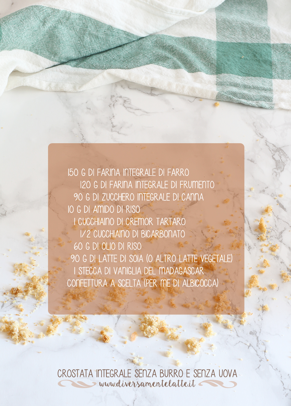 ingredienti crostata integrale senza burro e senza uova