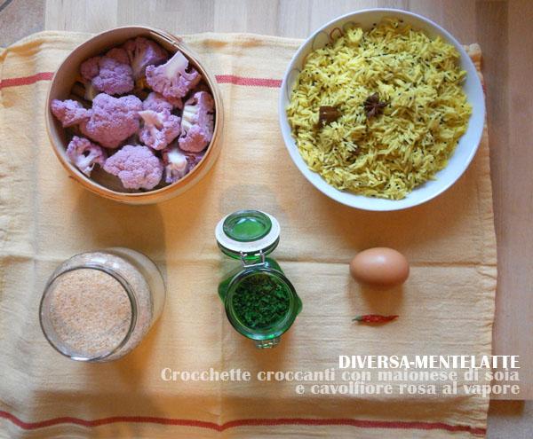 Crocchette croccanti con maionese di soia e cavolfiore rosa al vapore