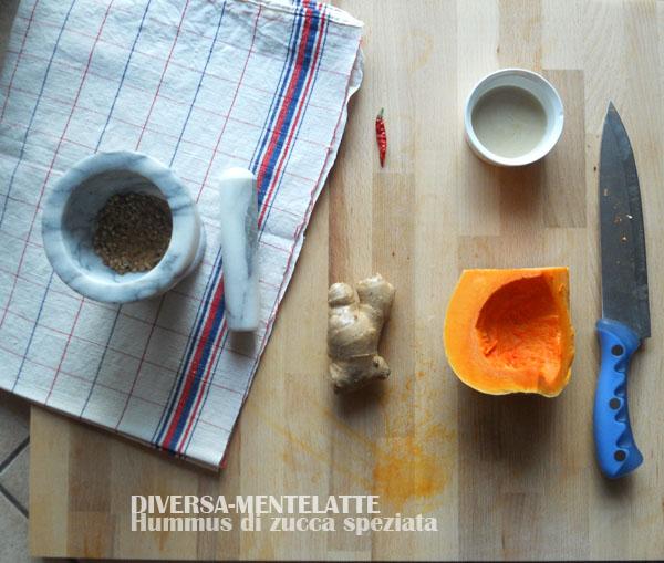 Ingredienti hummus di zucca speziata