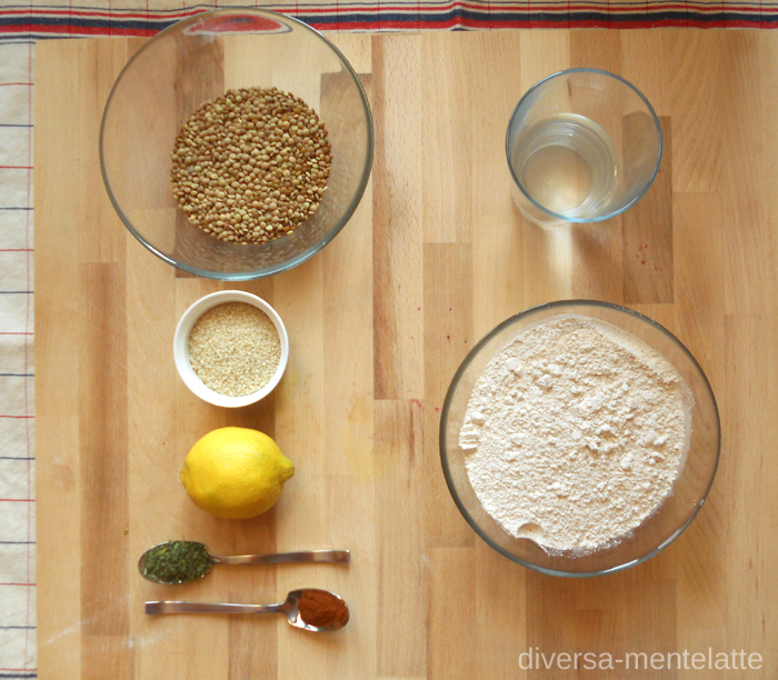 Ingredienti hummus di lenticchie con chapati homemade