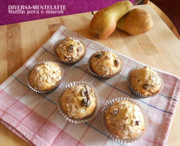 Muffin alla pera con muesli