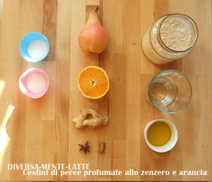 Ingredienti-cestini di pere allo zenzero