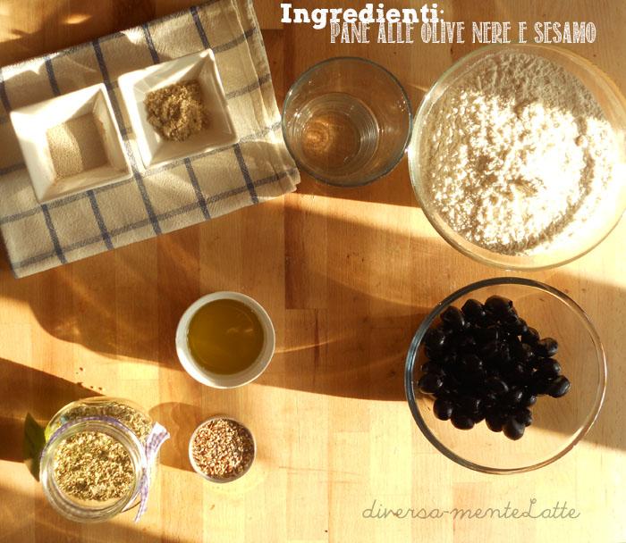 Ingredienti pane alle olive e sesamo